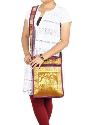 Lal Haveli Jacquard Silk Elephant Work Design Boho Tote Bag for Women 10 X 15 inches