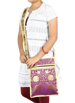 Lal Haveli Elephant & Peacock Work Design Gypsy Bag for Women Hippie 10 X 15 inches