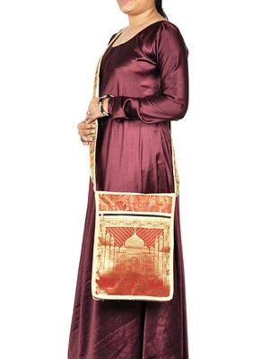 Lal Haveli Taj Mahal Jacquard Silk Women's Cross Body Shoulder Boho Bag 10 X 15 inches