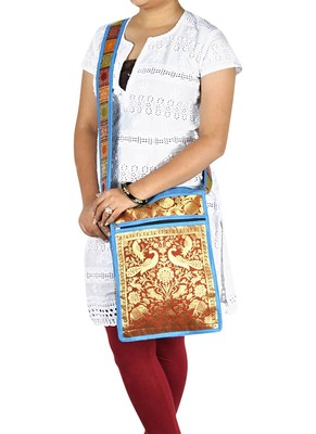 Lal Haveli Traditional Elephant & Peacock Work Design Boho Ladies Shoulder Bag 10 X 15 inches