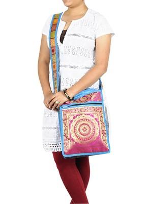 Lal Haveli Mandala Jacquard Silk Boho Side Bag 10 X 15 inches