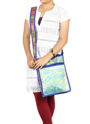 Lal Haveli Elegant Peacock & Elephant Work Design Boho Sling Bag 10 X 15 inches
