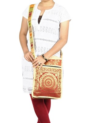 Lal Haveli Mandala Silk Designer Women's Cross Body Bag 10 X 15 inches