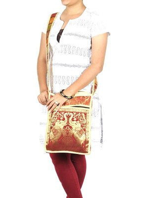 Lal Haveli Elephant Work Design Tote Bag for Women 10 X 15 inches