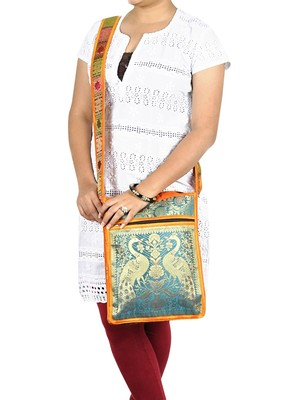 Lal Haveli Ethnic Indian Design Peacock Work Women's Boho Sling Bag 10 X 15 inches