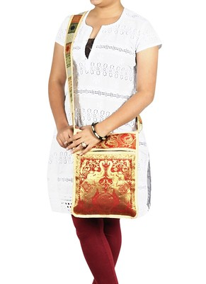 Lal Haveli Elephant Art Work Design Ladies Cross Body Side Silk Bag 10 X 15 inches