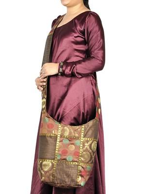 Lal Haveli Elegant Handmade Silk Patchwork Bag 12 X 15 inch