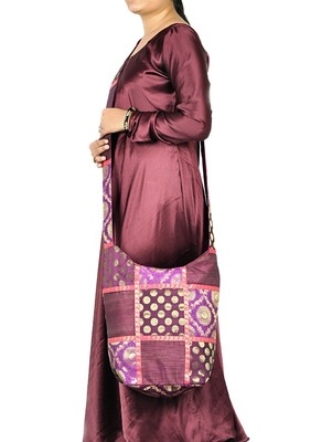 Lal Haveli Patchwork Design Silk Hippie Sling Bag for Women's 12 X 15 inches