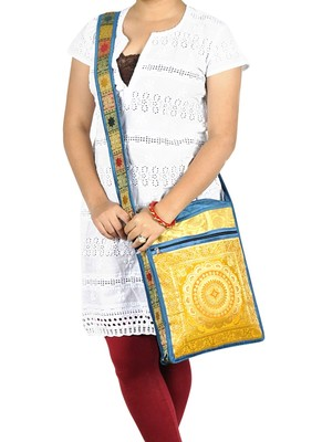 Lal Haveli Decorative Women Fashion Cotton Jhola Bag Cross Body Sling Bag 10 X 15 inches