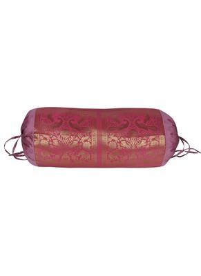 Lal Haveli Elephant & Peacock Work Design Silk Bolster Pillow Cover for Diwan