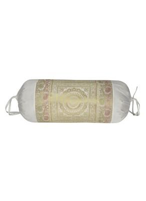 Lal Haveli Mandala Design Silk Round Bolster Pillow Cover