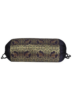 Lal Haveli Handmade Elephant Work Design Silk Bolster Cover for Housewarming Gift