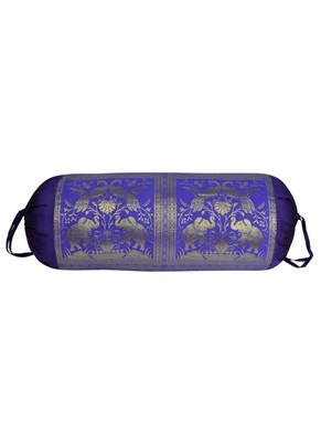 Lal Haveli Peacock & Elephant Work Design Silk Bolster Cover for Room D      cor 30 X 15 inches