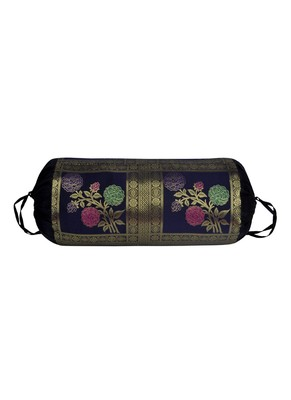 Lal Haveli Rose Flower Work Designer Silk Bolster Cushion Cover 30 X 15 inches
