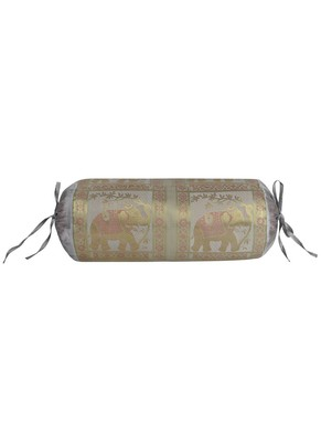 Lal Haveli Ethnic Elephant Design Silk Bolster Pillow Cover for Room Decor 30 X 15 inches