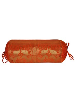 Lal Haveli Orange Color Silk Bolster Pillow Cover Bed Room Decor 30 X 15 inches