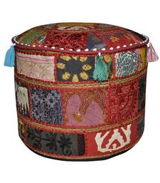 Lal Haveli Indian Embroidery Patchwork Footstool Ottoman Cover 17 X 17 X 12 inches