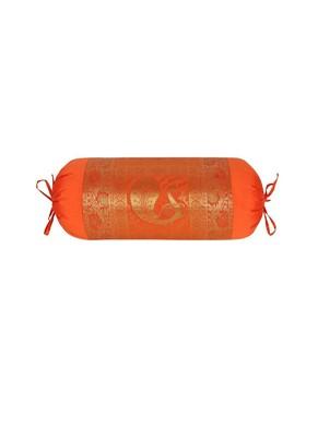 Lal Haveli Handmade Peacock Design Orange Color Round Silk Bolster Cushion Cover 30 x 15 Inch