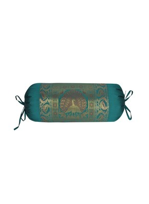 Lal Haveli Silk Round Peacock Design Roll Ethnic Bolster Cover Green Color 30 x 15 Inch