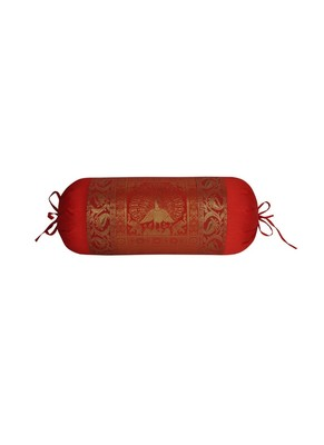 Lal Haveli Peacock Design Red Color Bolster Cover 30 x 15 Inch