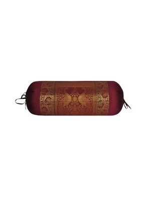Lal Haveli Round Roll Silk Designer Decorative Peacock Design Bolster Cover Maroon Color 30 x 15 Inch