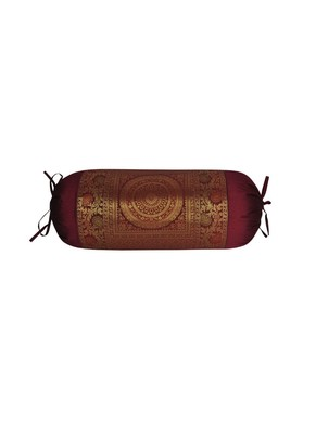 Lal Haveli Home Decorative Handmade Bolster Cover Maroon Color 30 x 15 Inch