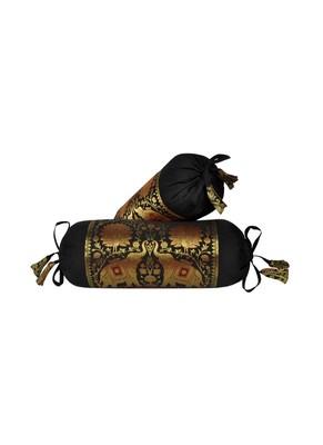 Lalhaveli Elephant Design Silk Bolster Pillow Cushion Covers (18 x 8 inch, Black)- Set of 2 Pcs