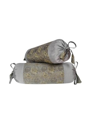 Lal Haveli 2 Pc Set Decorative Silk Bolster Cushion Covers 18 x 8 inch