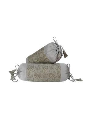Lal Haveli Room Decorative Handmade Silk Fabric Bolster Pillow Cushion Covers Set of 2 Pcs 18 x 8 inch