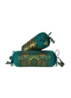 Lal Haveli Rajasthani Handmade Designer Silk Fabric Elephant Work Bolster Pillow Cushion Covers Set of 2 Pc 18 x 8 inch
