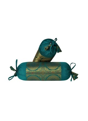 Lal Haveli Mandala Designer Silk Bolster Pillow Cushion Covers Housewarming Gifts 18 x 8 inch (2 Pcs Set)