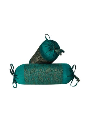 Lal Haveli Designer Handmade Silk Fabric Bolster Pillow Cover Set of 2 Pcs 18 x 8 inch
