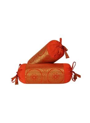 Lal Haveli Designer Silk Bolster Cushion Covers Set of 2 Pcs 18 x 8 inch