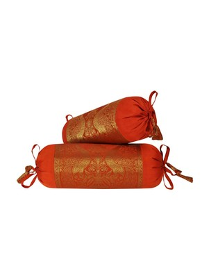 Lal Haveli Orange Color Round Shape Living Room Decor Silk Bolster Pillow Cushion Covers Set of 2 Pcs 18 x 8 inch