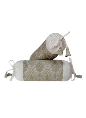 Lal Haveli Bolster Pillow Cover White 18 x 8 inch (Silk Fabric)