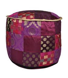 Decorative Patchwork Silk Ottoman Floor Cushion Cover 17 X 17 X 13 Inches