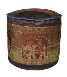 Elephant Work Design Footstool Silk Ottoman Cover 17 X 17 X 12 Inches