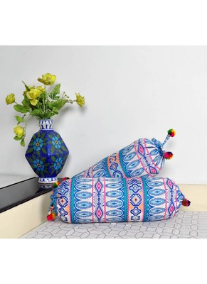 Lal Haveli Decorative Handloom Bolster Cushion Covers 18 x 8 inch Set of 2 Pcs