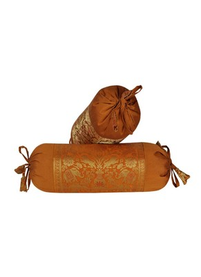 Lal Haveli Decorative Silk Bolster Cover Golden Color 18 x 8 Inch Set of 2 Pcs