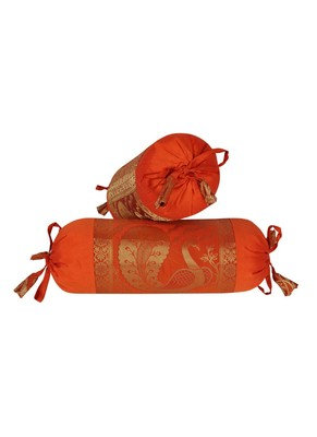 Lal Haveli Living Room Decorative Silk Bolster Cover Orange Color 18 x 8 Inch Set of 2 Pcs