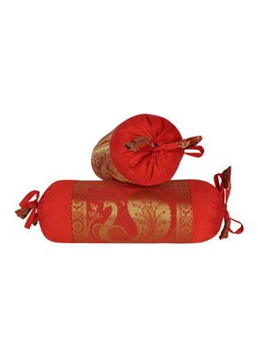 Lal Haveli Decorative Peacock Design Silk Bolster Cover Red Color 18 x 8 Inch Set of 2