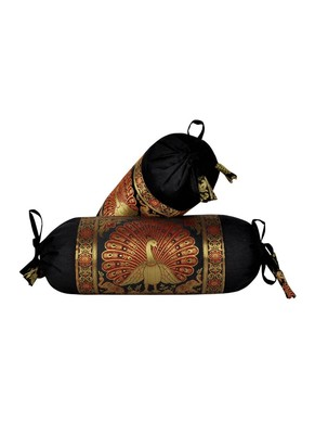 Lal Haveli Decorative Peacock Design Black Color Silk Bolster Cushion Covers 18 x 8 Inch Set of 2 Pcs