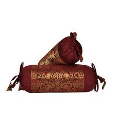 Lal Haveli Maroon Color Silk Fabric Elephant & Peacock Design Bolster Covers 18 x 8 Inch Set of 2 Pcs