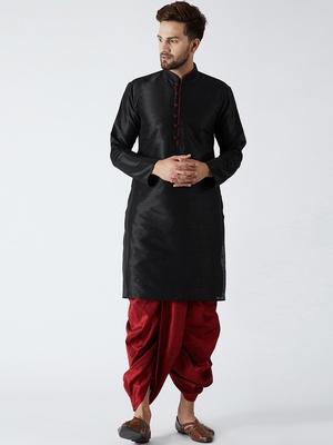 Black plain silk blend dhoti-kurta