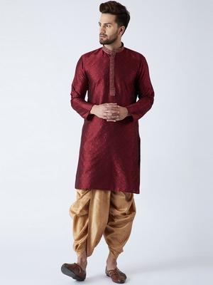 Maroon plain silk blend dhoti-kurta