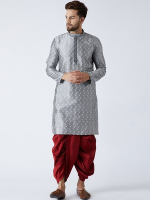 Grey plain silk blend dhoti-kurta