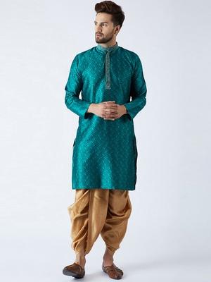 Green plain silk blend dhoti-kurta