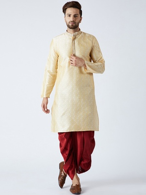 Gold plain silk blend dhoti-kurta
