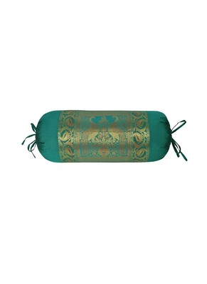 Lal Haveli Green Rajasthani Hand Art Peacock Work Design Silk Bolster 30 x 15 inch