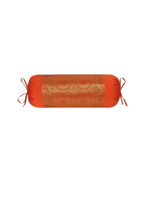 Lal Haveli Orange Designer Silk Bolster Pillow Cushion Cover for Diwan Bed Decoration 30 x 15 inch
